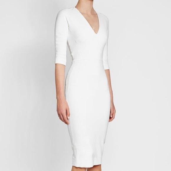 Victoria Beckham White V Neck Sheath Mid Dress